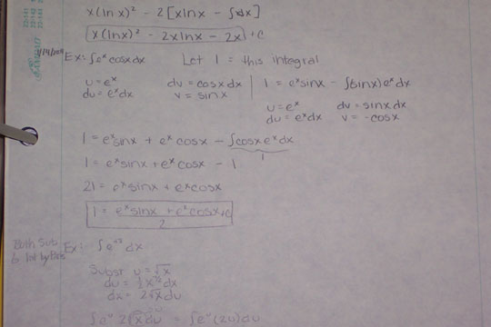 Calculus notes on integration by parts