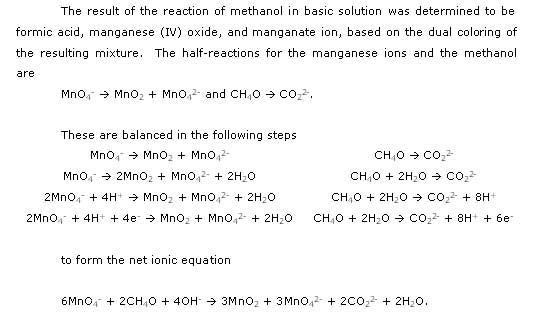 'Qualitative Reduction-Oxidation Reactions' - The redox reaction of permanganate to manganese (IV) oxide and manganate ion